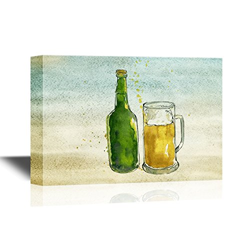 Beer Bottle and Glass on Vintage Background