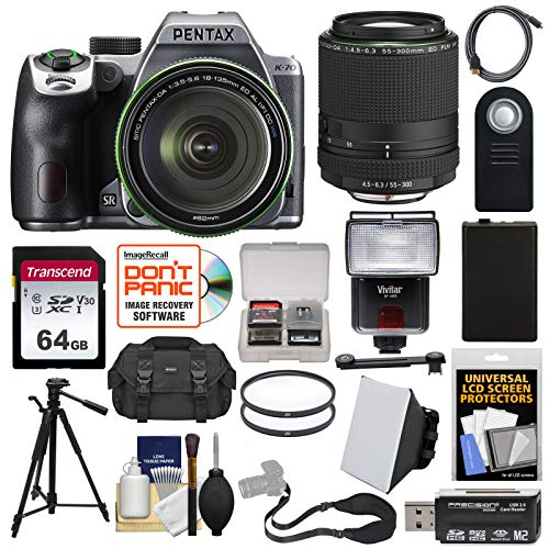 (Pentax K-70 All Weather Wi-Fi Digital SLR Camera & 18-135mm WR Lens (Silver) with 55-300mm Lens + 64GB Card + Battery + Case + Tripod + Flash + Filters + Strap + Kit)