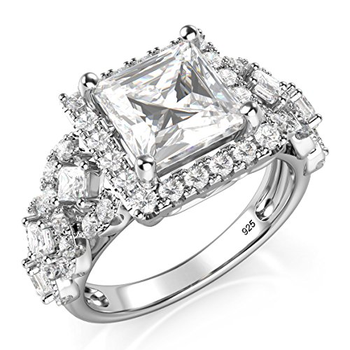 Metal Factory Sterling Silver 925 Princess Cut CZ Cubic Zirconia Halo Engagement Ring