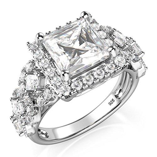 925 Princess Cut CZ Cubic Zirconia Halo Engagement Ring (Princess Cut Cz Rings)