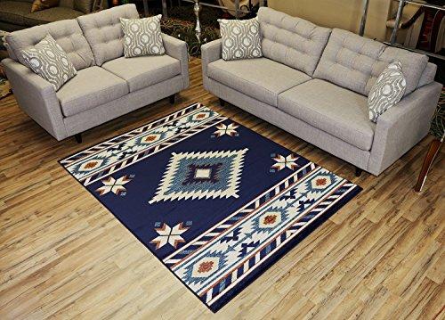 Nevita Collection Southwestern Native American Design Area Rug Rugs Geometric (Navy Blue, 5 x - American Native Home