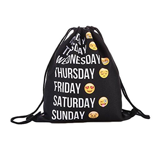 Expression Women Fashion Backpacks Ladies Kiicn Free Bts Shipping Bags Drawstring Printing Black nnqwY8fP