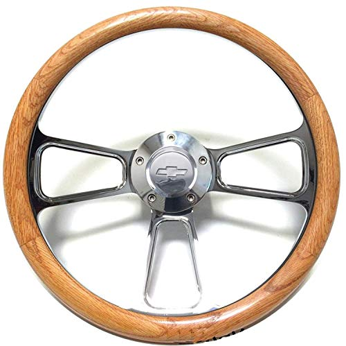 1970 1971 1973 Chevy C10 Pick-Up Truck Oak Steering Wheel + Polished Adapter Kit (1970 Chevy)