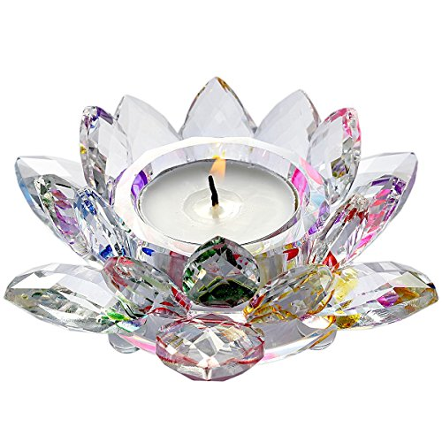 rockcloud Crystal Glass Lotus Tea Light Candle Holders Candlestick Votive for Wedding, Birthday, Party & Home Decoration