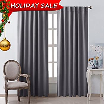 Blackout Curtain Panels Window Draperies - (Grey Color) 52x84 Inch, 2  Pieces,
