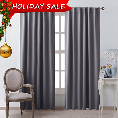 Bedroom Curtains Blackout Curtain Panels - (Gray Color) 52x95 Inch, 2 Pcs, Insulating Energy Saving Solid Rod Pocket Blackout Drapes by (Gray Rectangular Ring)