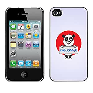 Qstar Arte & diseño plástico duro Fundas Cover Cubre Hard Case Cover para Apple iPhone 4 / iPhone 4S / 4S ( Welcome Sign Panda Bear Japan Flag Red White)