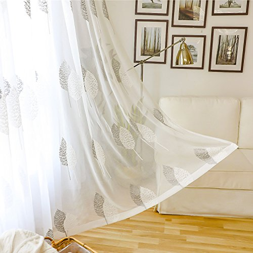 VOGOL Banyan Leaves Embroidered Design Sheer Curtains Elegant White Rod Pocket Window Drapes/Panels for Living Room, 60 x 96,Two ()