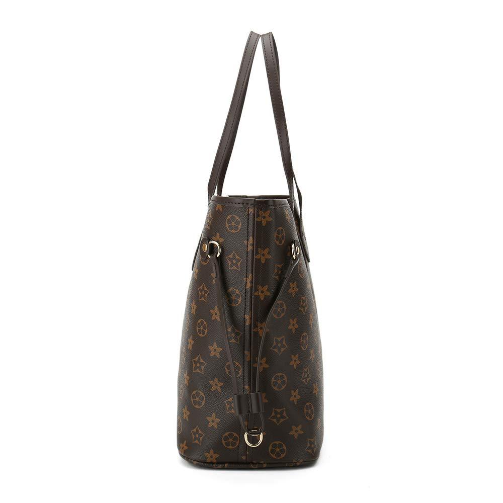 OFFICE BEACH Damen Handtaschen, weiches Leder, große Kapazität, Schultertaschen für Arbeit, Laptop für Damen, Handtaschen mit Geldbeutel, 2 Stück Coffee