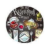 DIYthinker The best restaurant in the town Wins Anti-slip Floor Pet Mat Round Bathroom Living Room Kitchen Door 60/50cm Gift