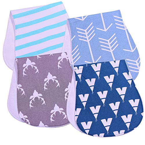 PPOGOO Waterproof Burp Cloths Burpy Bib Set 4 Pack made from Organic Cotton by PPOGOO