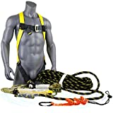 KwikSafety (Charlotte, NC) TSUNAMI KIT| 50 ft. Vertical Lifeline Rope, 1D Full Body Harness, Tool Lanyard | External Shock Absorber ANSI OSHA Fall Arrest Restraint Protection Safety Equipment