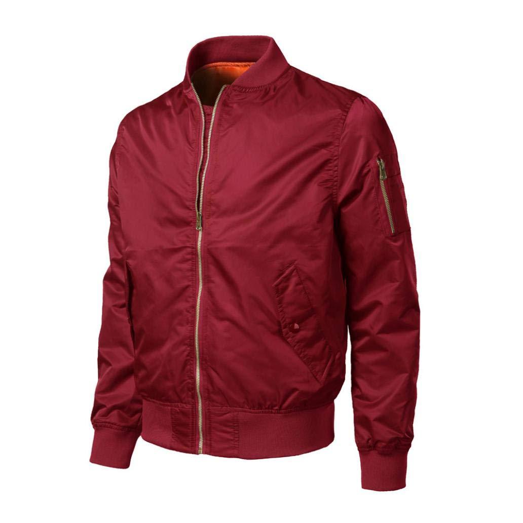 Muranba Clearance Men Casual Solid Zipper Bomber Jacket Outwear