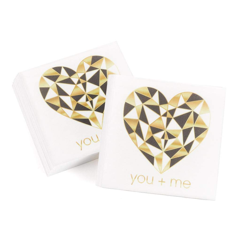 Geo Heart You + me Beverage Napkins - 4 3/4 x 4 3/4in. - 200 Pack