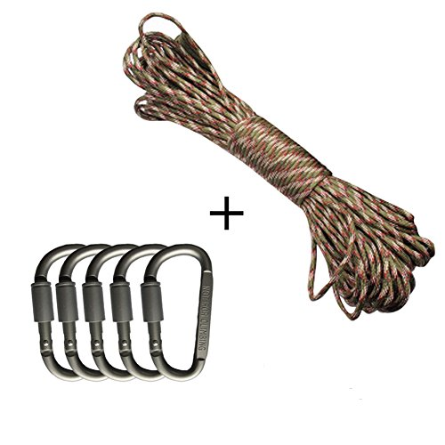 100Ft 7Strand Core Paracord 330lbs Parachute Cord + [5-Pack] Aluminum D-Shape Carabiner Locking Buckle By GuanYuanGuang (Camouflage)