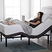 LUCID L300 Adjustable Bed Base - 5 Minute Assembly - Dual USB Charging Stations - Head and Foot Incline - Wireless Remote Control - Upholstered - Ergonomic - Twin XL - Charcoal