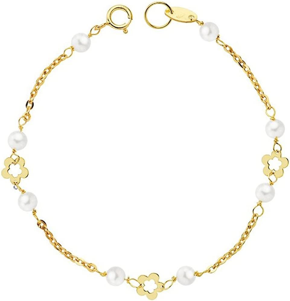 Monde Petit G1213PU - Pulsera bebe Oro 18 Kts. margarita perlas