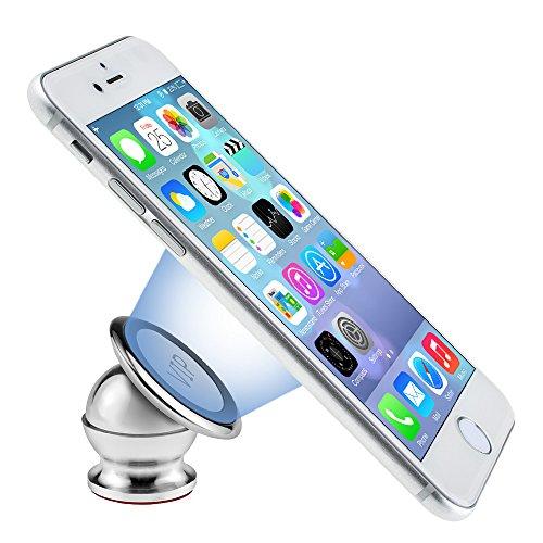 Autohalterung,runshion Magnet Handyhalterung Universal KFZ Handyhalter für Navi,iPhone 7/6S/6/Plus/5S/SE ,Samsung GalaxyS7/S6/Edge, Galaxy Note7/5/4/3 und jedes andere Smartphone oder GPS-Gerät (Silber)