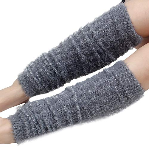 URIBAKE Womens Winter Leg Warmers Cable Knit Silver Wire Ladies Socks Legging