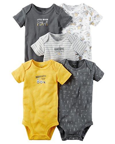William Carter Baby Boys' 5 Pack Bodysuits (Baby) Mr Fix It, Preemie