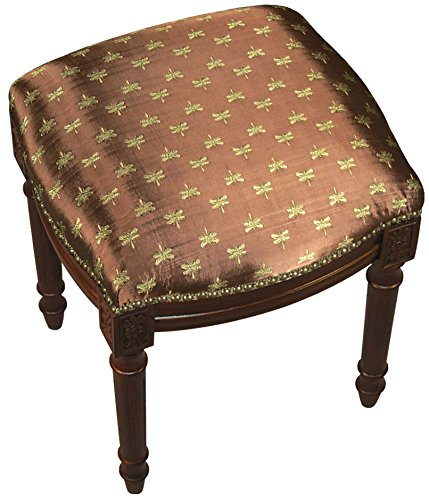 SketchONE Upholstered Vanity Stool, Bumble Bee, Bronze