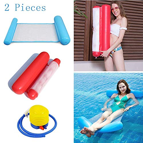 TMcom 2-Pack(Blue,Red)Swimming Pool Lounger Floating Water Hammock loatation Cushion Beach Pool Lounger Multi-Purpose Portable Inflatable Hammock with Inflatable Water Pillow (Swimming Pool Loungers)