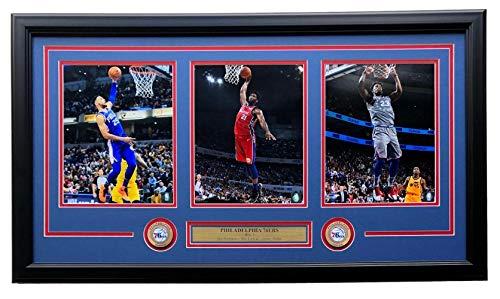 (Ben Simmons Joel Embiid Jimmy Butler Framed 35x18 Philadelphia 76ers 8x10 Photo Collage)