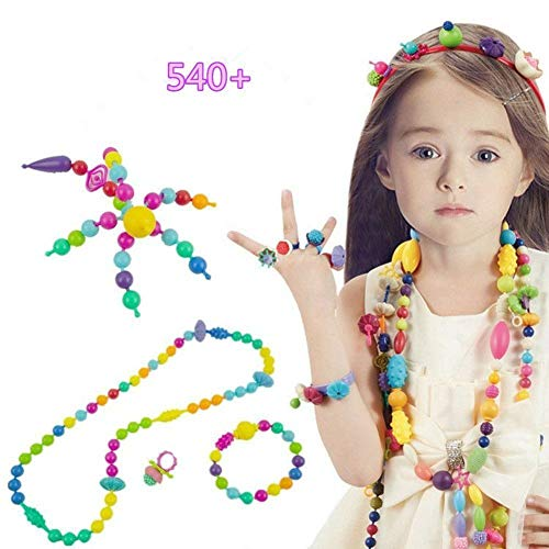 Pop Beads Set 540 PCS+ DIY Jewelry Making Kit Hairband Necklace Bracelet and Ring, BPA Free Creativity Snap Beads Art Crafts Toys set- Charms Fun Gift for Girls Toddlers Birthday & Christmas Day