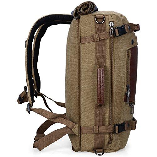 cdf372df4f WITZMAN Men Travel Backpack Canvas Rucksack Vintage Duffel Bag A2021 (21  INCH Light Green)
