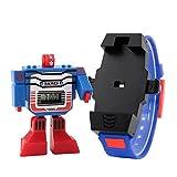 SKMEI Reloj Digital Para Niño Figura de Robot Carátula Desprendible se transforma en Robot Extensible de Caucho Azul (Azul)