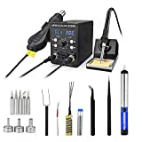 Rework Soldering Station Kit with Heating Core Replacement,Digital Display Soldering Iron and Hot Air Desoldering Gun Welding 2 in 1 SMD Rework Station,700W 480℃ 8786D