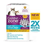 Comfort Zone MultiCat Calming Diffuser Refill Only, New 2X Pheromones for Cats Formula, 6 Pack