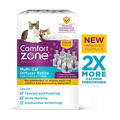 Comfort Zone MultiCat Calming Diffuser Refill Only, New 2X Pheromones for Cats Formula 6 Pack from Comfort Zone