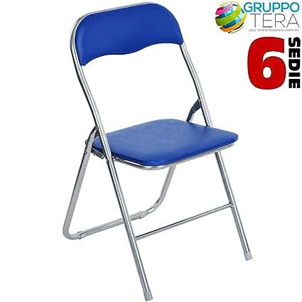 Bakaji - Juego de 6 sillas acolchadas plegables para ahorrar ...