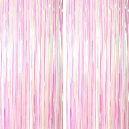 Iridescent Party Tinsel Foil Fringe Curtains - Frozen Baby Shower First Birthday White Wedding Bachelorette Valentines Party Decor Photo Booth Props Backdrops Decorations, 2pc -