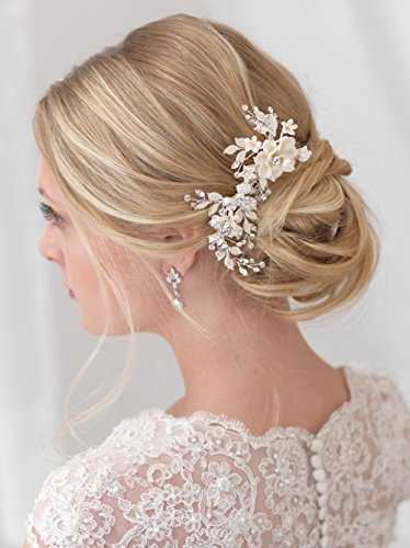 USABride Wedding clip offers a touch of nature to your bridal look This bridal clip features ivory enamel flowers accented with frosted leaves and sparkling rhinestones TC-2274