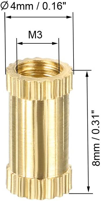 M3 x 8mm L x 4mm OD Female Thread Brass Embedment Nuts uxcell Knurled Threaded Insert Pack of 50