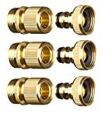 GORILLA EASY CONNECT Garden Hose Quick Connect Fittings. ¾ Inch GHT Solid Brass. (4) (3 Sets of Male & Female CONNECTORS)