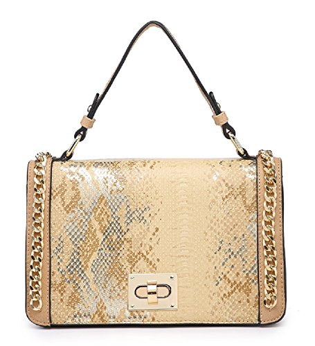Shoulder Grab Satchel Edge Black Handbag Ladies Snakeskin Women's MA36085 Bag Chain qf6FY
