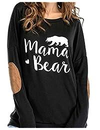 DOKER Women's Mama Bear Letter Print Crew Neck Elbow Patch Long Sleeve T-Shirt