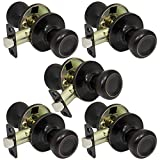 5 Pack of Pro-Grade Classic Passage Hallway Closet Door Knobs Handles, Oil Rubbed Bronze