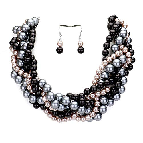 Fashion 21 Women's Simulated Faux Braided, Twist Multi-Strand Pearl Statement Necklace and Earrings Set (Braided - Black Mix)