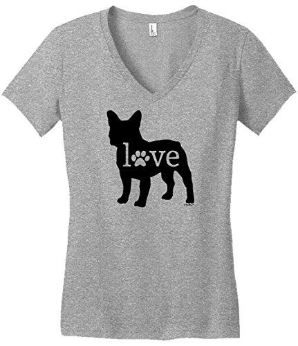 Bulldog V-neck (Dog Breed Gifts French Bulldog Love Dog Paw Prints Juniors Vneck Medium LtHtr)