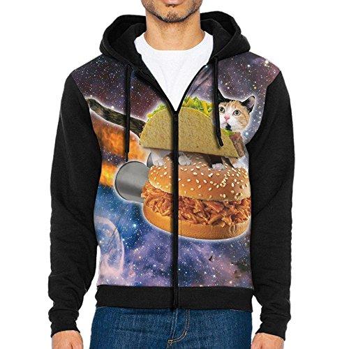 Taco Cat In Space Mens Realistic 3D Digital Long Sleeve Hoodie Sweatshirts Hooded Top