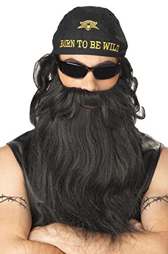 Biker Beard and Moustache (Black/Grey) (Biker Dude Halloween Costume)