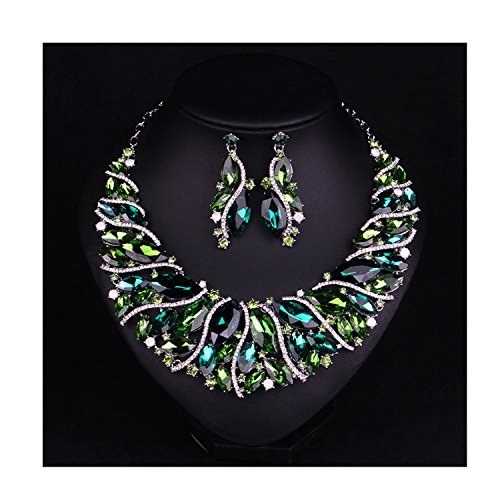 Hamer bridal Link Costume jewelry Crystal Choker Pendant Bib Statement Chain Charm Necklace and Earrings Sets (Green) (Statement Necklace Fashion)
