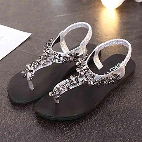 Sandalias de verano, Internet Zapatos de las mujeres planas sandalias al aire libre de la señora Plata