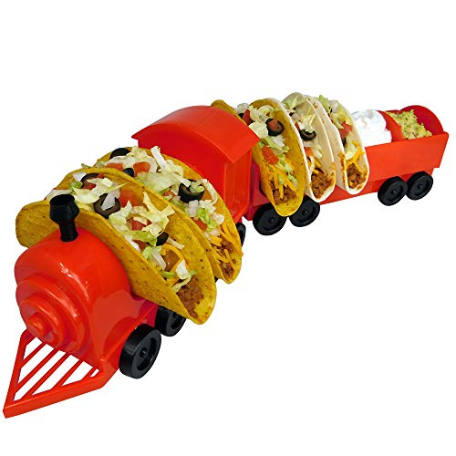 Taco Train Taco Party Holder Stand - Holds 5 Tacos and Salsa - The Ultimate Gift for Kids and Adults for Fun Taco Tuesdays - Perfect for Taco Twosday Kids Birthday Party - By Fyve Global by Fyve Global
