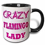 3dRose mug_175049_4 Crazy Flamingo Lady Two Tone Black Mug, 11 oz, Black/White