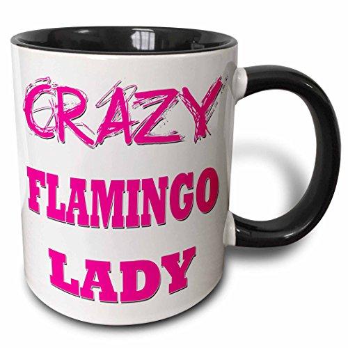 3dRose mug 175049 4 Crazy Flamingo Black
